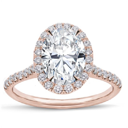 The rose gold oval engagement ring